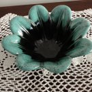 Aqua & Black Candy Vase Pottery Evangeline Canada 70s