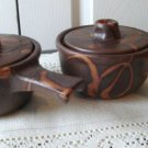 Vintage Laurentian Pottery 2 Abstract Brown/Rust Onion Soup Dish
