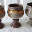 Tundra Lava 3 Wine Goblets Laurentian Pottery 70s