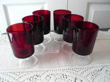 Vintage Ruby Red Arcoroc 6 Wine Goblets Footed France