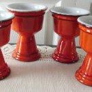 Vintage Beauceware? Art Pottery 4 Orange Wine Goblets 70s