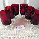 Ruby Red Arcoroc Set 6 Shots Glass Goblets Footed France
