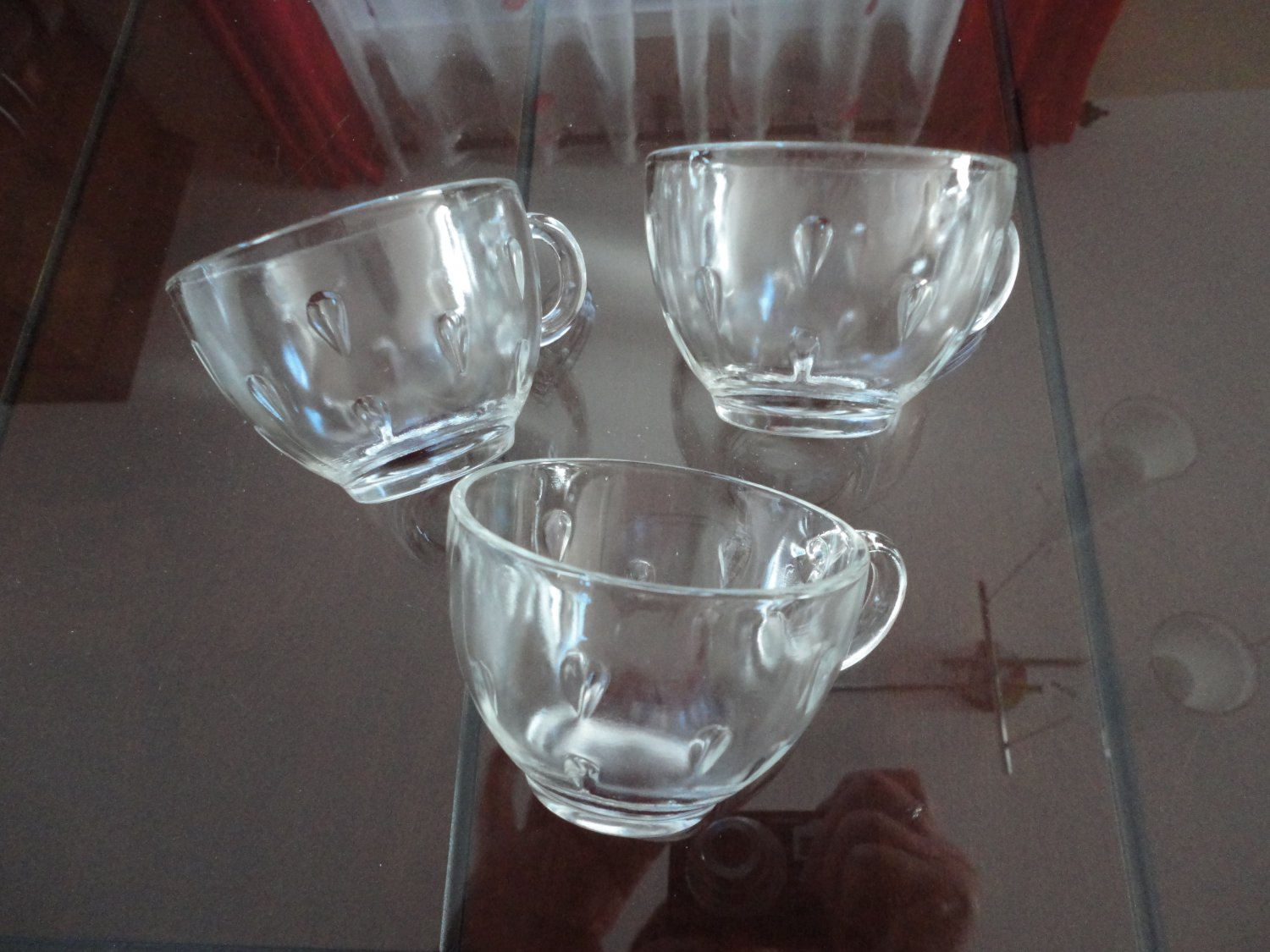 3 clear glass punch cups drops pattern vintage 70s