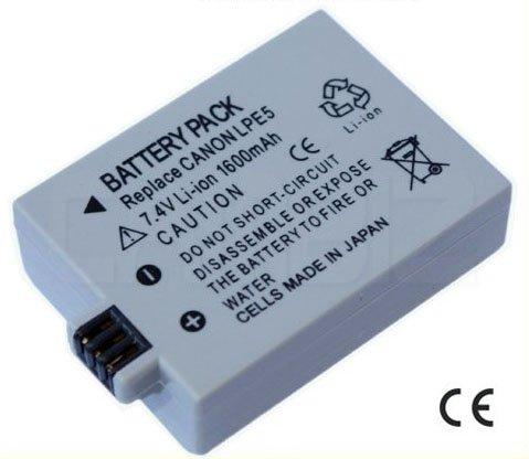 Canon LP-E5 DSLR Battery (1600mAh) for EOS 1000D,450D,500D,Kiss F,Kiss X2,Kiss X3,Rebel T1i etc