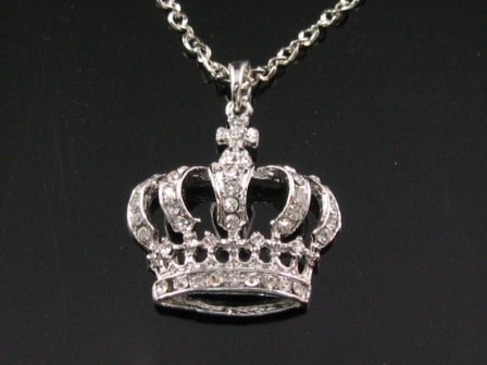 Crystal King's Crown Silver Pendant Necklace Best Gift Idea