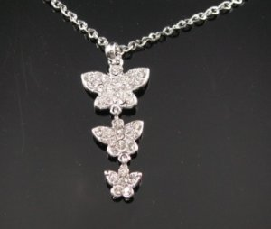 SN045 Crystal Butterfly Dangle Silver Pendant Necklace Best Gift Idea