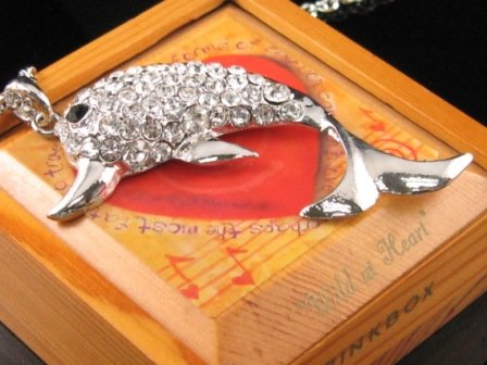 SN047 Crystal Dolphin Silver Pendant Necklace Best Gift Idea