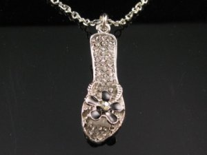SN049 Crystal Sandal Silver Pendant Necklace Best Gift Idea