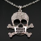 CRYSTAL SKULL SILVER NECKLACE SN050