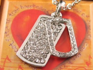 SN054 Crystal Retangle Tag Dangle Silver Pendant Necklace Best Gift Idea