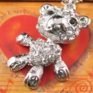SN062 Crystal Cutie Bear Dangle Silver Pendant Necklace Best Gift Idea