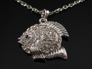 SN064 Crystal Fairy Fish Silver Pendant Necklace Best Gift Idea