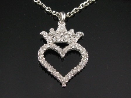 SN066 Crystal Queen's Crown w/Heart Silver Pendant Necklace Best Gift Idea