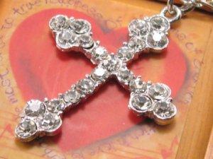 SN071 Crystal Cross Silver Pendant Necklace Best Gift Idea