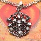 SN075 Crystal Skull Silver Pendant Necklace Best Gift Idea