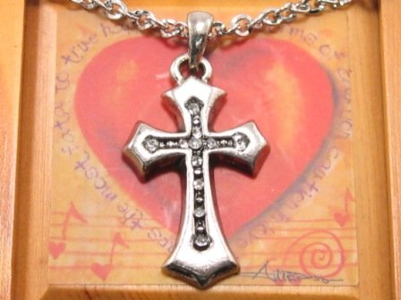 SN078 Crystal Cross Silver Pendant Necklace Best Gift Idea