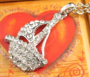 SN346 Crystal Sailing Boat Silver Pendant Necklace Best Gift Idea