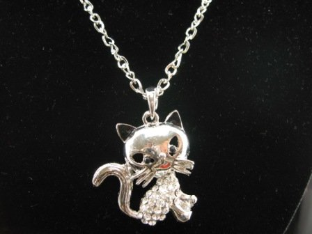 SN343 Crystal Funky Cat Silver Pendant Necklace Best Gift Idea