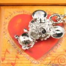 SN340 Crystal Cutie Mouse Silver Pendant Necklace Best Gift Idea