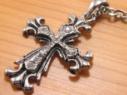 SN079 Crystal Cross Silver Pendant Necklace Best Gift Idea