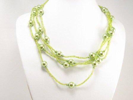"SN086 Elegant 80"" Long Green Simulated Pearl Glass Beads Necklace Best Gift Idea"