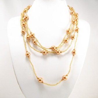 """SN087 Elegant 80"""" Long Orange Brown Simulated Pearl Glass Beads Necklace Best Gift Idea"""