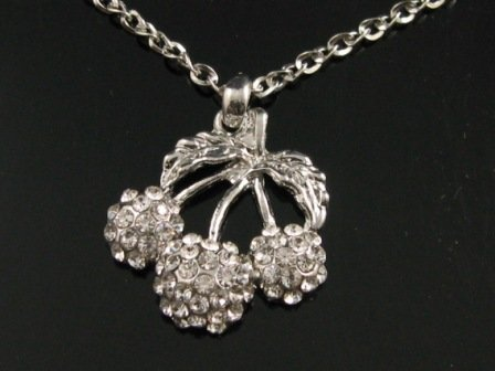 "sn095 Elegant 26"" Long Crystal Cherry Silver Pendant Necklace Best Gift Idea"
