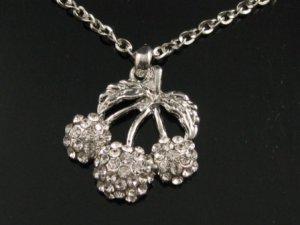 "sn095 Elegant 26"" Long Crystal Cherry Silver Pendant Necklace Best Gift Idea"