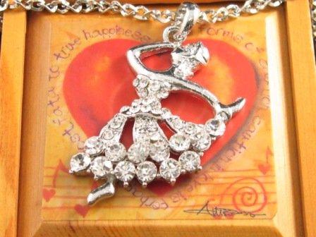 """SN099 Elegant 26"""" Long Crystal Ballet Dancer Silver Pendant Necklace Best Gift Idea"""