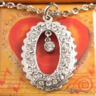 "SN100 Elegant 26"" Long Crystal Oval Silver Pendant Necklace Best Gift Idea"