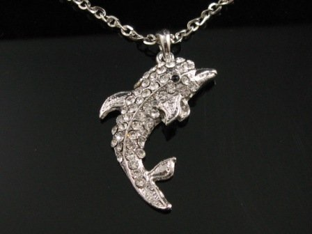 "SN101 Elegant 26"" Long  Crystal Dolphin Silver Pendant Necklace Best Gift Idea"