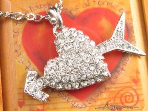 SN104 Elegant Crystal Heart Silver Pendant Necklace Best Gift Idea