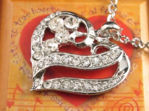 SN105 Elegant  Crystal Heart Silver Pendant Necklace Best Gift Idea