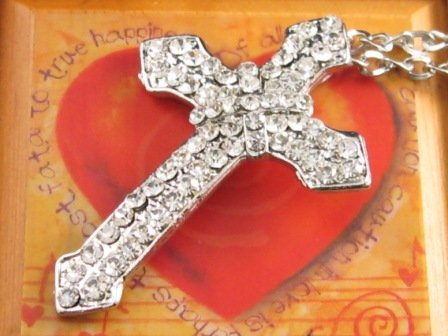 SN106 Elegant  Crystal Cross Silver Pendant Necklace Best Gift Idea