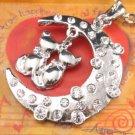 SN108 Elegant  Crystal Cat Moon Silver Pendant Necklace Best Gift Idea