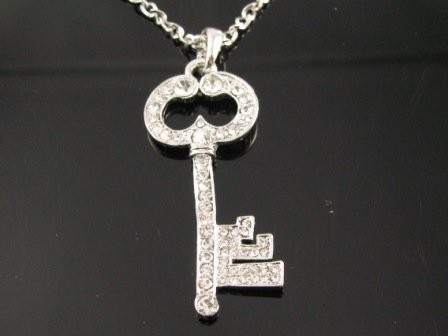 SN1013 Elegant Clear  Crystal Love Key Silver Pendant Necklace Best Gift Idea
