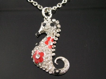SN114 Elegant Crystal Seahorse Silver Pendant Necklace Best Gift Idea