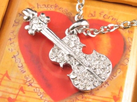 SN124 Elegant  Crystal Silver Guitar Pendant Necklace Best Gift Idea