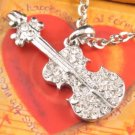 SN124 Elegant  Crystal Silver Guitar Pendant Necklace Best Gift Idea