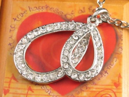 SN127 Elegant Crystal Double Pear Silver Pendant Necklace Best Gift Idea
