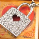 SN131 Crystal Silver Sweet Heart Lock Pendant Necklace Best Gift Idea