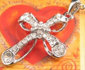 SN135 Elegant  Crystal Silver Cross Pendant Necklace Best Gift Idea