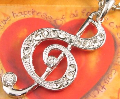 SN136 Elegant Crystal Silver Music Note Pendant Necklace Best Gift Idea