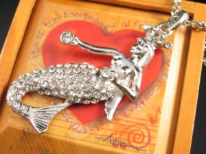 SN148 Elegant Crystal Mermaid Silver Pendant Necklace Best Gift Idea