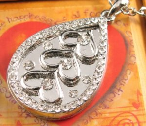 SN150 Elegant  Crystal Pear Heart Silver Pendant Necklace Best Gift Idea