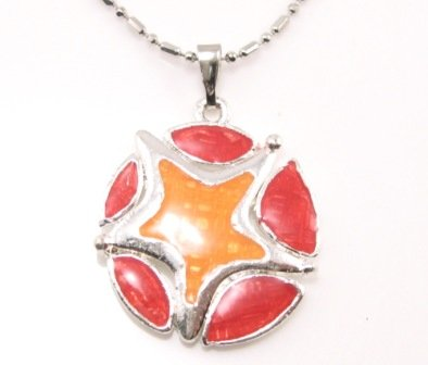 SN173 Elegant Red Orange Round Star Enamel Epxy Fashion Silver Pendant Necklace Best Gift Idea
