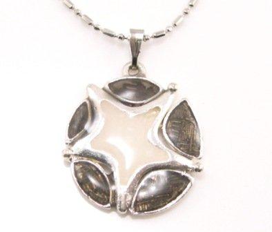 SN175 Elegant Black Round Star Enamel Epoxy Fashion Silver Pendant Necklace Best Gift Idea