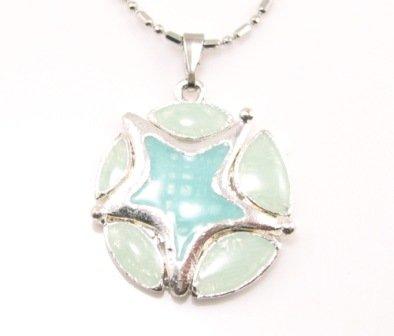 SN176 Elegant Blue Round Star Enamel Epoxy Fashion Silver Pendant Necklace Best Gift Idea
