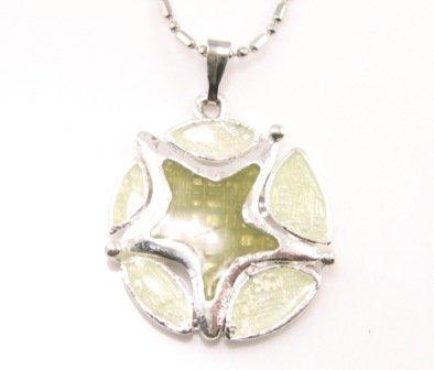 SN177 Elegant Green Round Star Enamel Epoxy Fashion Silver Pendant Necklace Best Gift Idea