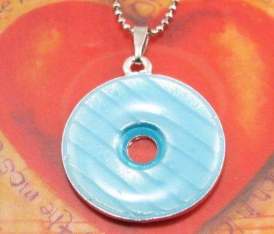 SN179 Elegant Blue Round Enamel Epoxy Fashion Silver Pendant Necklace Best Gift Idea